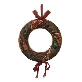 "Exquisite 14"" Deluxe Brown Peacock Sequin & Gem Feather Christmas Wreath #10556"