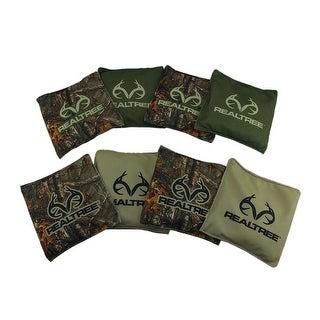Set of 8 Realtree Regulation Cornhole Bean Bags 6 x 6 inch - DARK GREEN