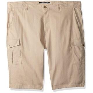 Sean John NEW Beige Mens Size 32 Solid Linen Cargo Lightweight Shorts