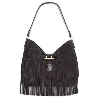 Calvin Klein Womens Pinnacle Hobo Handbag Suede Fringe - MEDIUM