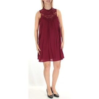 Womens Maroon Sleeveless Above The Knee Shift Casual Dress Size: S