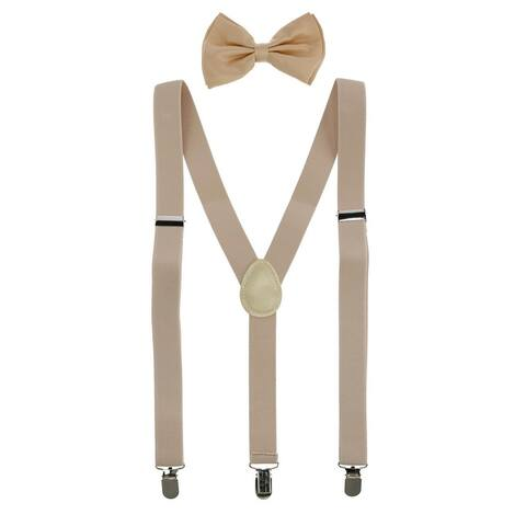 CTM® Men's Solid Fashion Color Bow Tie and Suspender Set - one size