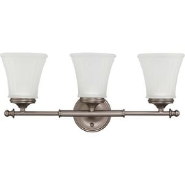Nuvo Lighting 60/4013 Teller Three Light Bathroom Fixture with Frosted Etched Glass - aged pewter