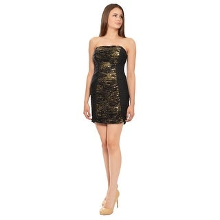 La Femme Sassy Little Black Sequin Party Dress - 2