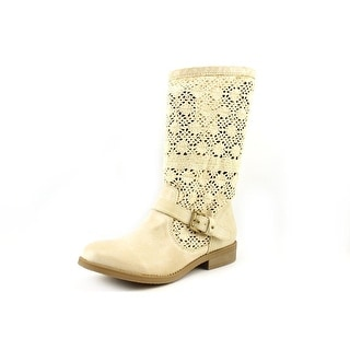 Famous Name Brand Treasure Women Round Toe Canvas Mid Calf Boot
