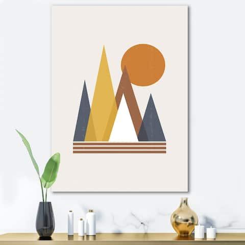 Designart 'Mountain Abstract and Sun' Modern Canvas Wall Art Print
