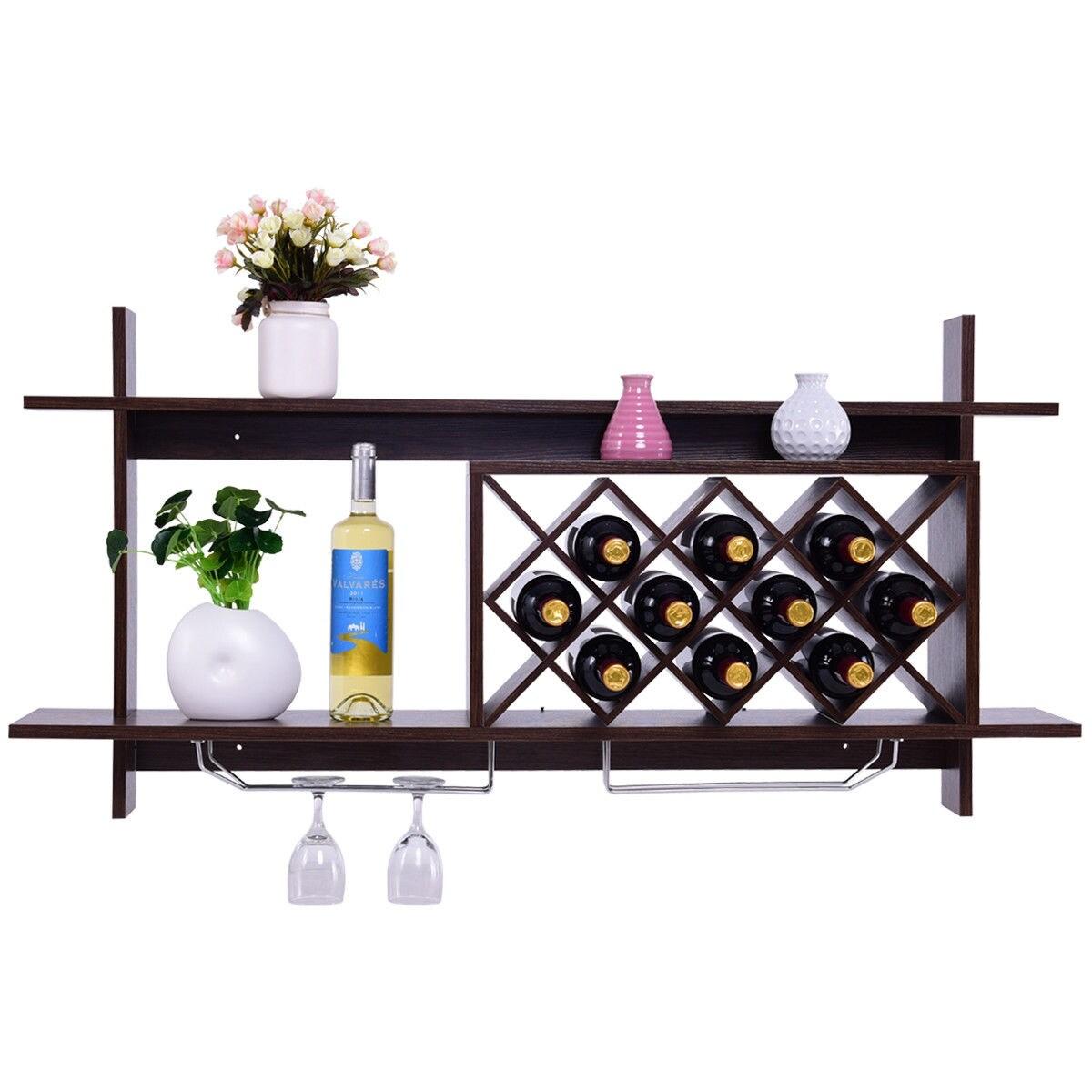 Wall Mounted Wine Rack 5 Bottle Storage Organizer Shelf Holder Room Decor Modern