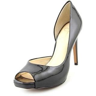 Jessica Simpson Jaselle Women Peep-Toe Synthetic Black Heels