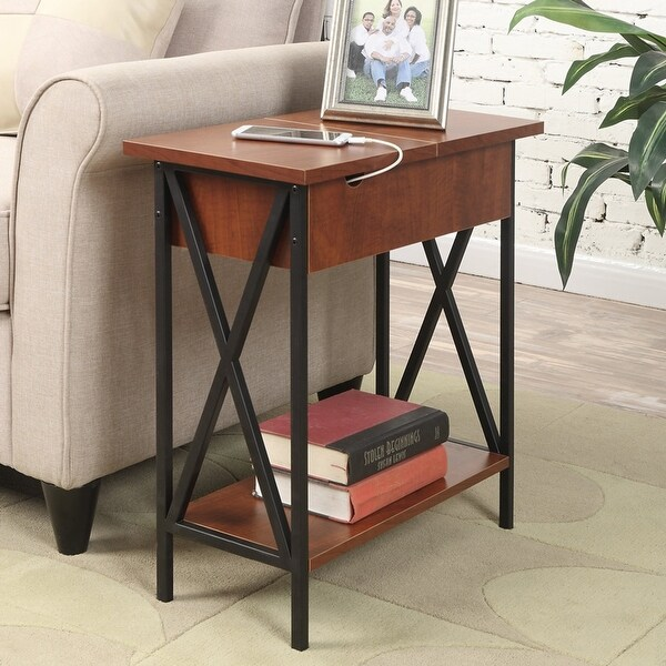 Carbon Loft Ehrlich Flip-top End Table with Changing Station. Opens flyout.
