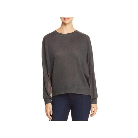 Kenneth Cole Womens Pullover Top Raglan Mixed Media