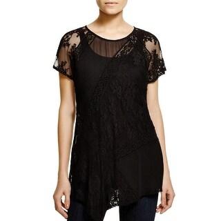 Karen Kane Womens Casual Top Lace Inset Short Sleeves