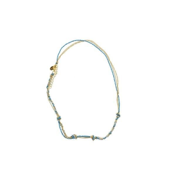 Sogoli Womens Beaded Bracelet Gold Tone Braided - turquoise/sage