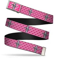 Ford Mustang W Logo Fcg Pink  Chrome Ford Mustang W Bars W Text Pink Web Belt