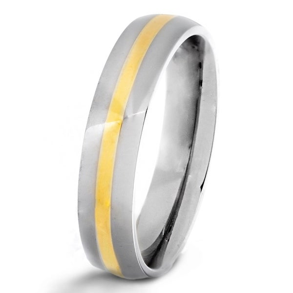 Chisel 14k Gold Inlaid Polished Titanium Ring (5.0 mm)