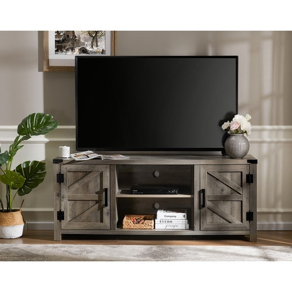 "Farmhouse Barndoor TV Stand Entertainment Center for TVs up to 70 inch - 59"". Opens flyout."