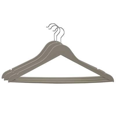 Home Basics Cream Non-Slip Space-Saving Rubberized Plastic Hangers - 17.25'' x 9''/43 x 23 cm