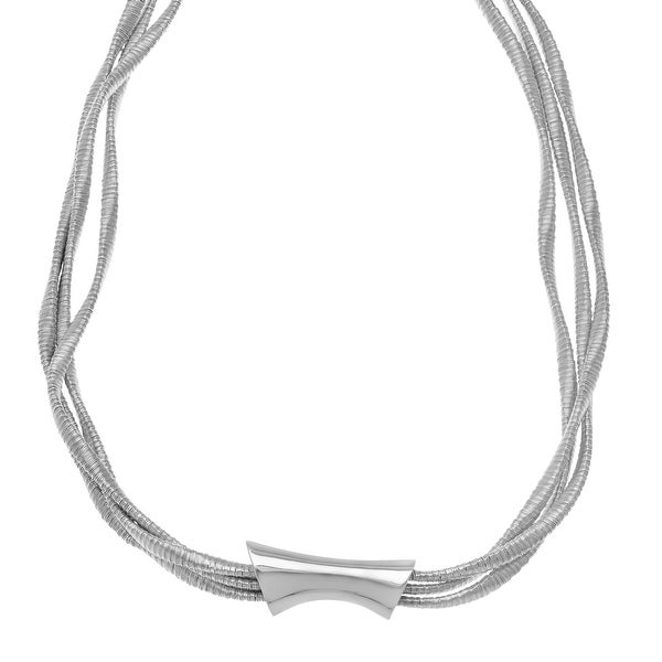 Twisted Multi-Strand Necklace in Rhodium-Plated Sterling Silver - White