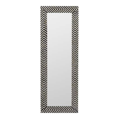 Aurelle Home Modern Bone Inlay Chevron Pattern Mirror