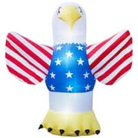 Holidayana 4th Of July Inflatable Giant 8 Ft. Tall Bald Eagle Inflatable With Lighted Interior Built In Fan And Anchor Ropes