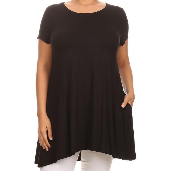 675352dfa25 Women - Plus Size Short Sleeve Solid Pocket Asymmetric Tunic Knit Top Tee  Shirt Black. Click to Zoom