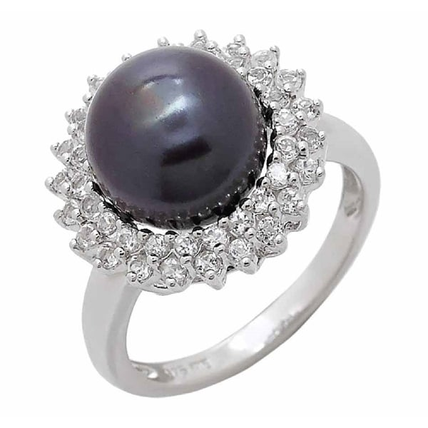 Black Freshwater Halo Pearl Ring with two row of White Topaz in Rhodium Plated, by Pearl Lustre. Opens flyout.
