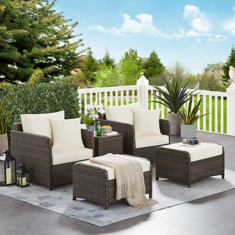 5 PCS Patio Chairs and Ottoman SetOutdoor Furniture Set Wicker Sofa Rattan Couch Conversation Lounge Set with Glass Table