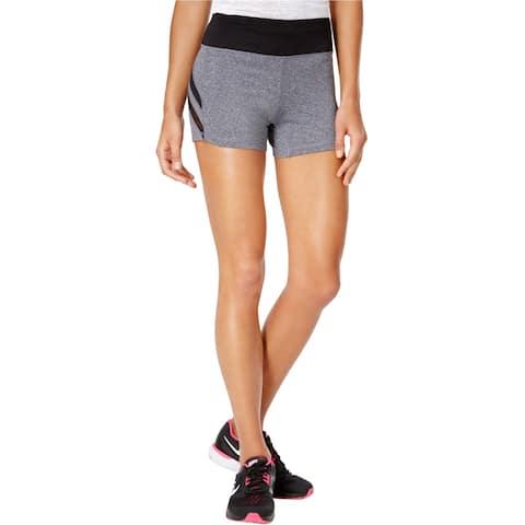 Material Girl Womens Mesh Insert Athletic Compression Shorts, grey, Medium