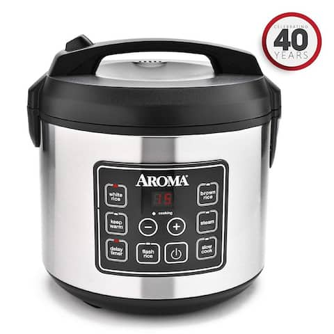 Aroma 20-Cup (Cooked) Digital Rice Cooker and Food Steamer ARC-150SB