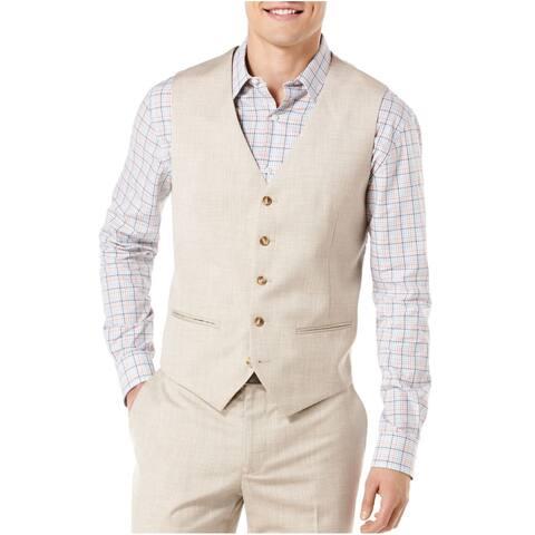 Perry Ellis Mens Suit Seperates Beige Size Medium M Two Pocket Vest