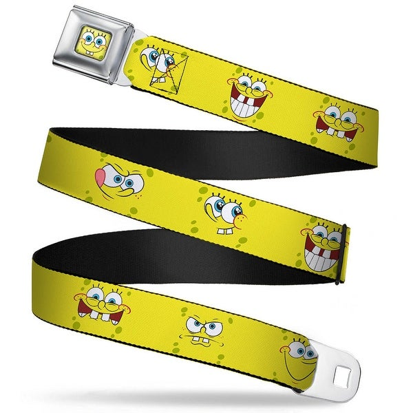 Sponge Bob Face Close Up Sponge Bob Expressions Yellow Webbing Seatbelt Seatbelt Belt