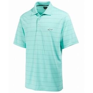 Greg Norman Aqua Blue Mens Size XL Classic Polo Rugby Stripe Shirt
