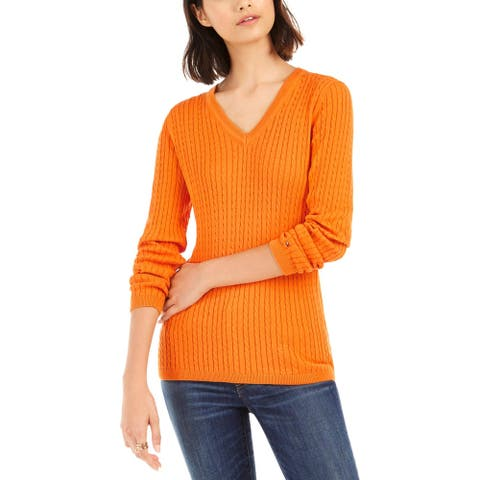Tommy Hilfiger Womens Ivy Sweater Cotton Cable Knit