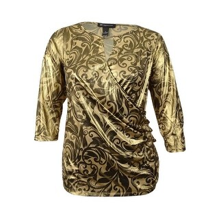 INC International Concepts Women's Metallic Surplice Top - wisteria vines