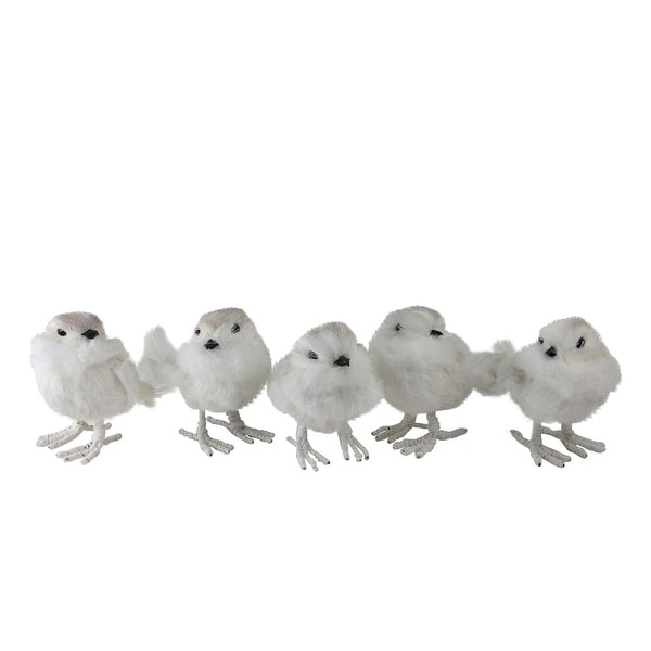 "Set of 5 Feather and Wire White Bird Christmas Figure Decorations 3.75"" - brown"