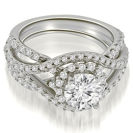 1.75 cttw. 14K White Gold Exquisite Halo Multi Row Diamond Engagement Ring