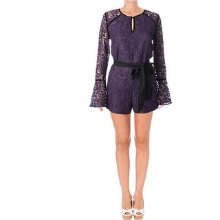 Juicy Couture Black Label Womens Leafy Romper Lace Bell Sleeves