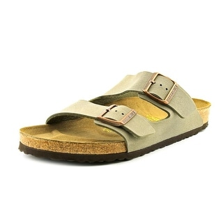 Birkenstock Arizona Men  Open Toe Leather Gray Slides Sandal