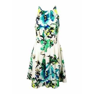Vince Camuto Women's Floral Halter Scuba A-Line Dress