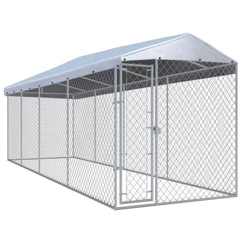 vidaXL 25-foot Outdoor Steel Dog Kennel with Roof