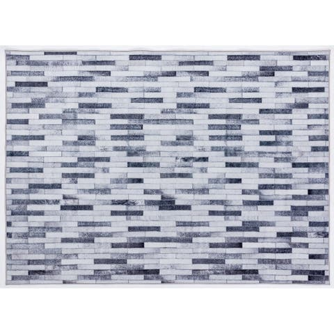 Capri Collection Patterned Faux Cowhide Printed Rug