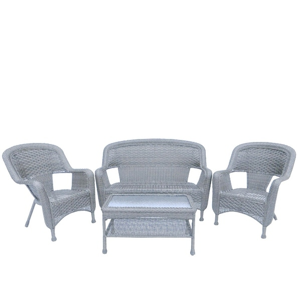 4 Piece Antique Gray Steel Resin Outdoor Patio Furniture Set Loveseat 2 Chairs And Table Free Shipping Today 22725127