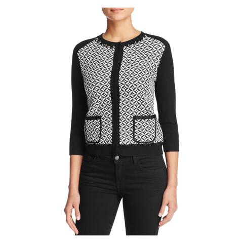 Finity Womens Cardigan Sweater Quilted Embellished