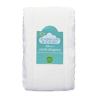 Cuddles and Cribs Natural Cotton Cloth Diapers/Burp Cloth - 10 Count - White