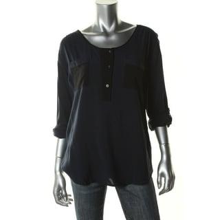 Calvin Klein Jeans Womens Juniors Henley Top Contrast Trim Scoop Neck