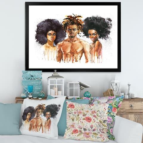Designart 'African American Fashion Portraits' Glam Framed Art Print