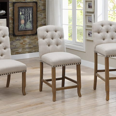 Furniture of America Hail Rustic Tufted Counter Chairs (Set of 2)