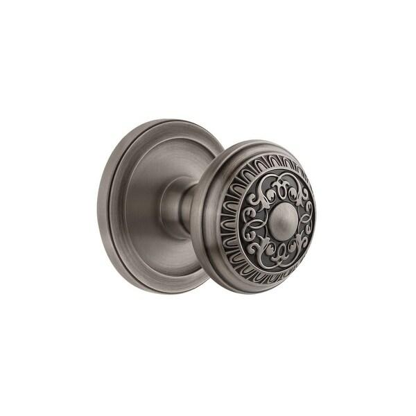"Grandeur CIRWIN_PRV_234 Circulaire Solid Brass Rose Privacy Door Knob Set with Windsor Knob and 2-3/4"" Backset"