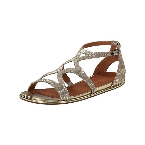 Gentle Souls Womens Oak Strappy Sandals Metallic Leather