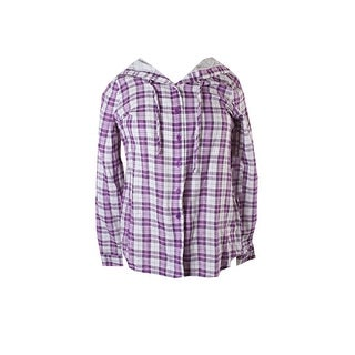 G.H. Bass & Co. Purple White Plaid Hooded Shirt S