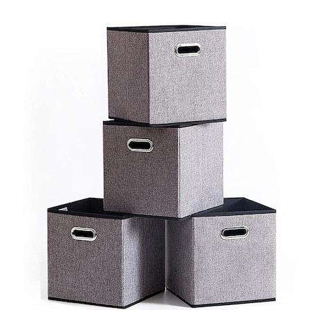 Enova Home Fabric Storage Bins Foldable Cube Organizer With Handles (Set of 4) - N/A